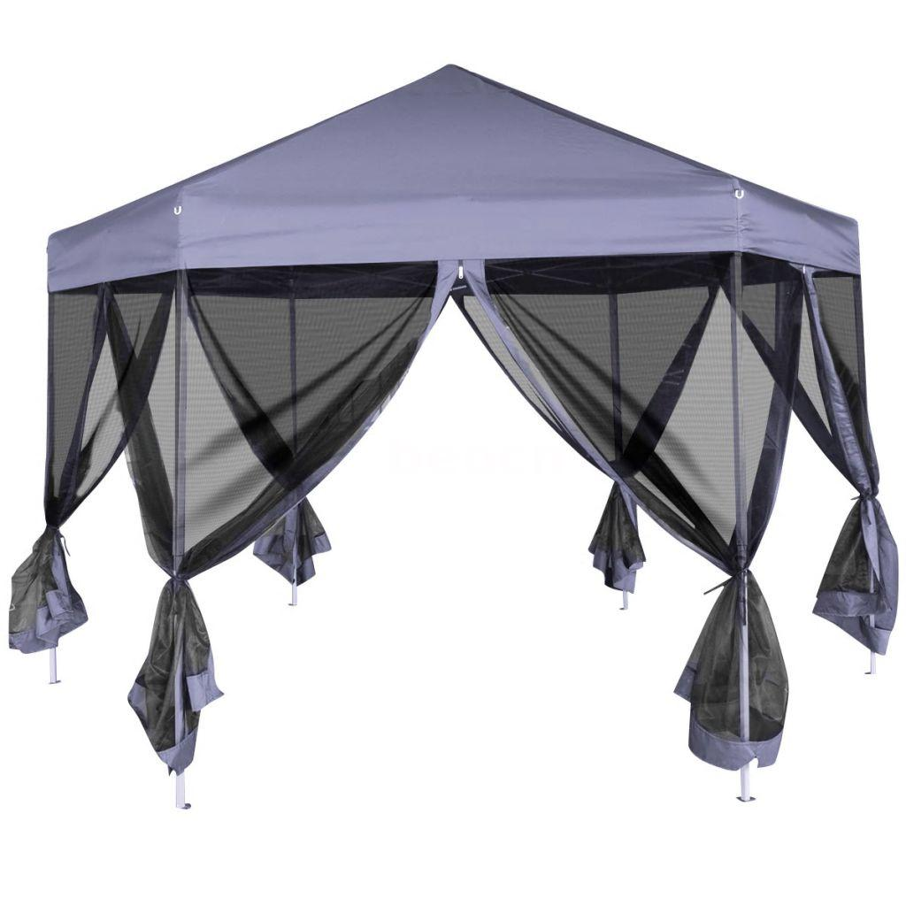 Outdoor Canopy Tent Up Hexagon With 6 Sidewalls Dark Blue